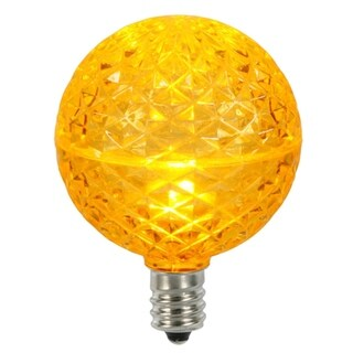 Club Pack of 25 LED G50 Yellow Amber Replacement Christmas Light Bulbs -E12 Base