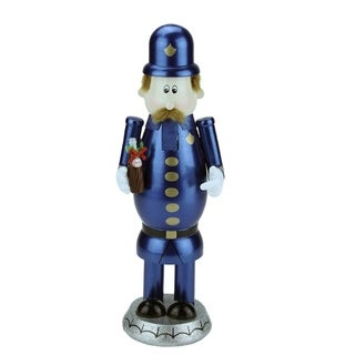 "12"" Decorative Blue Gold and Black Wooden ""Pepsi"" Pete Christmas Nutcracker"