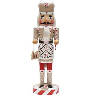 """14"""" Gingerbread Kisses White Red and Green Decorative Wooden Christmas Nutcracker Chef"""