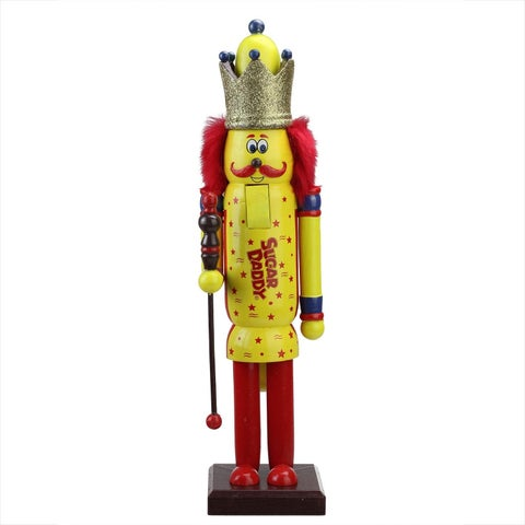 """14"""" Decorative Yellow and Red Sugar Daddy King Wooden Christmas Nutcracker Figure"""