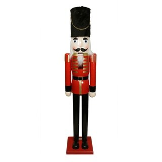 6' Giant Commercial Size Red and Black Wooden Christmas Nutcracker Soldier