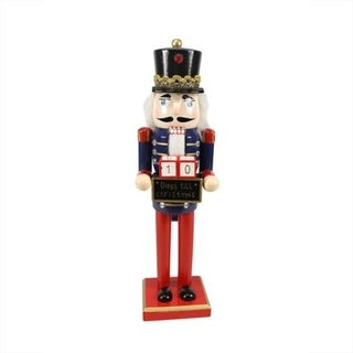 "14"" Decorative Wooden Red Blue and Gold Nutcracker with Christmas Countdown Sign"