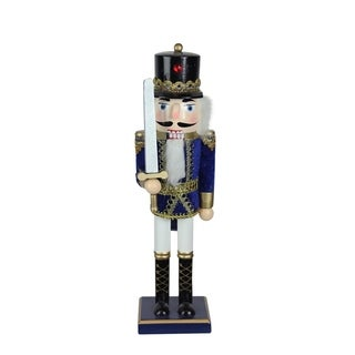 "14"" Decorative Wooden Blue White and Gold Christmas Nutcracker Soldier with Sword"