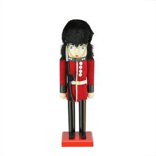 "14"" Decorative Wooden Red and Black Royal Guard Christmas Nutcracker"