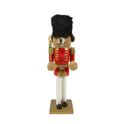 """14.25"""" Decorative Wooden Red and Gold Christmas Nutcracker Bear Soldier"""