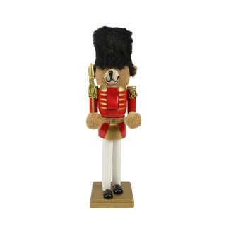 "14.25"" Decorative Wooden Red and Gold Christmas Nutcracker Bear Soldier"