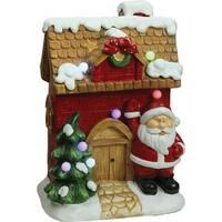 """16"""" Christmas Morning LED Lighted Christmas House with Santa Musical Christmas Tabletop Figure"""
