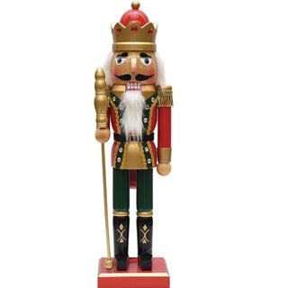 "14"" Decorative Red Green and Gold Wooden Christmas Nutcracker King with Scepter"