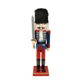 """14.25"""" Decorative Wooden Blue Red and Gold Glittered Christmas Nutcracker Soldier with Sword"""