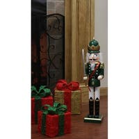 "24"" Decorative Green King Wooden Christmas Nutcracker with Sword"