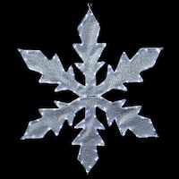 """36"""" Pure White LED Lighted Tube Light Silver Tinsel Fabric Snowflake Commercial Christmas Decoration"""