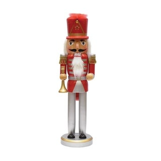 "14"" Decorative Red Silver and Gold Wooden Christmas Nutcracker with Horn"