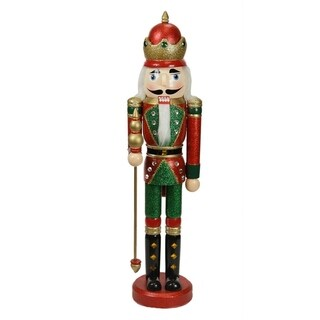 "24"" Decorative Red and Green Wooden Christmas Nutcracker King with Scepter"