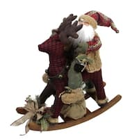 "25"" Country Rustic Santa Claus on Plaid Rocking Horse Christmas Figure"
