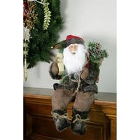 """12"""" Country Rustic Sitting Santa Claus Christmas Figure with Knitted Snowflake Jacket"""