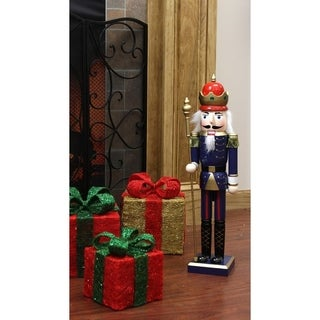 "24"" Decorative Blue King Wooden Christmas Nutcracker with Scepter"
