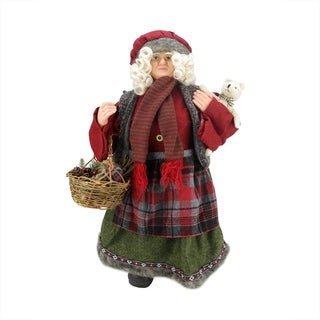"""24"""" Country Rustic Chef Standing Mrs. Claus Christmas Figure with Basket"""