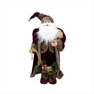 """32"""" Noble Standing Santa Claus in Burgundy Robe Christmas Figure with Teddy Bear and Gift Bag"""