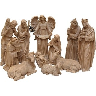 """11-Piece Speckled Brown Traditional Religious Christmas Nativity Set 22.75""""