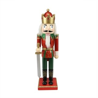 """14"""" Decorative Wooden Red Green and Gold Glittered Christmas Nutcracker King with Sword"""