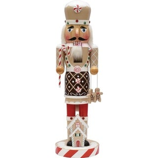 """14"""" Gingerbread Kisses White Brown and Red Decorative Wooden Christmas Nutcracker Chef"""
