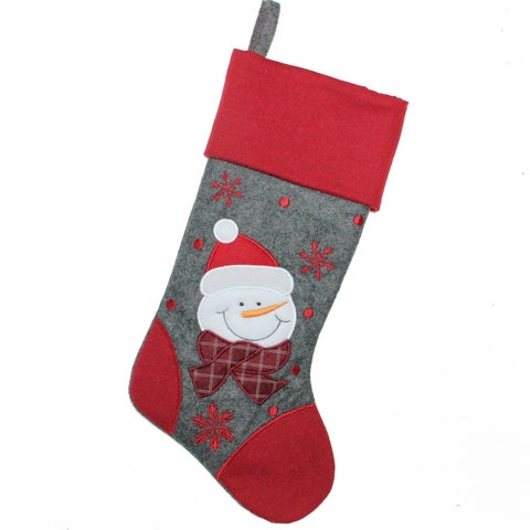 "18"" Gray and Red Embroidered Snowman Christmas Stocking"