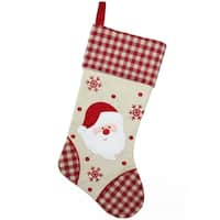 "19"" Burlap Embroidered Santa Claus Christmas Stocking with Red Gingham Cuff"