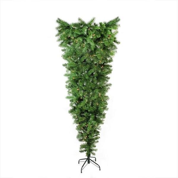 "Upside Down White Christmas Tree: Shop 5.5' X 38"" Pre-Lit Upside Down Spruce Artificial"