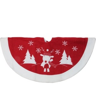 """48"""" Red and White Winter Reindeer Embroidered Christmas Tree Skirt"""