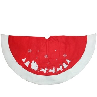 """48"""" Red and White Santa Claus and Reindeer Embroidered Christmas Tree Skirt"""