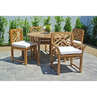 "5pc Monterey Teak Outdoor Patio Furniture Dining Set with 48"" Round Table. Sunbrella Cushion"
