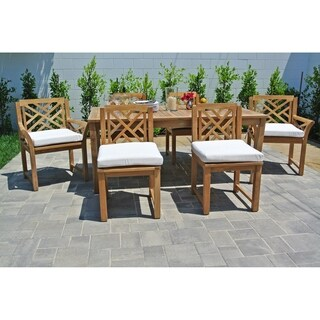 "7 pc Monterey Teak Outdoor Patio Furniture Dining Set with 72"" Rectangle Dining Table. Sunbrella Cushion."