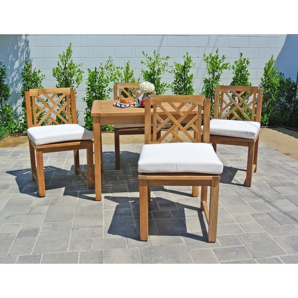 Pc Monterey Teak Outdoor Patio Furniture Dining Set With - Square teak patio table