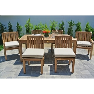 "7 pc Huntington Teak Outdoor Patio Furniture Dining Set with 72"" Rectangle Dining Table. Sunbrella Cushion."