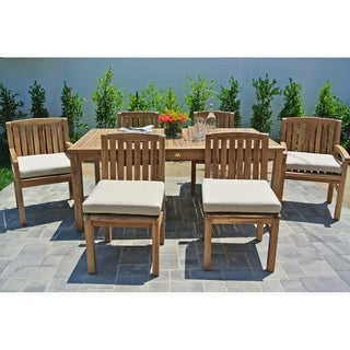 7 pc Huntington Teak Outdoor Patio Furniture Dining Set with 72-inch Rectangle Dining Table. Sunbrella Cushion.