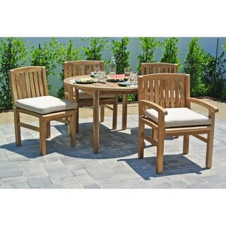 5 pc Huntington Teak Outdoor Patio Furniture Dining Set with 48-inch Round Dining Table. Sunbrella Cushion.