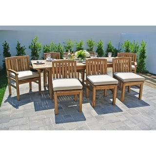 9 pc Huntington Teak Outdoor Patio Furniture Dining Set with Expansion Table. Sunbrella Cushion.