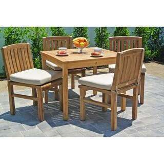 "5 pc Huntington Teak Outdoor Patio Furniture Dining Set with 36"" Square Dining Table. Sunbrella Cushion. (Option: blush)"