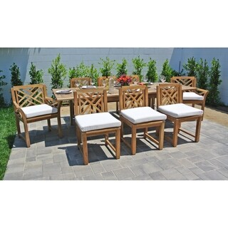 9 pc Monterey Teak Outdoor Patio Furniture Dining Set with Expansion Table. Sunbrella Cushions.