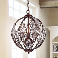 Warehouse of Tiffany Drusia Rustic-finished Iron and Crystal 13-inch Globe Pendant Light