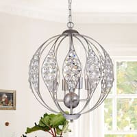 Comelia Antique Silver 13-Inch 3-light Leaf Pendant