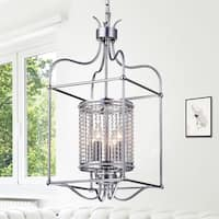 Warehouse of Tiffany Cariana Brushed Silver Metal and Clear Crystal 60-watt 4-light 13-inch Rectangular Pendant Light