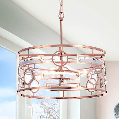 Warehouse of Tiffany Uliana 3-light 13-inch Rose Gold Drum Pendant