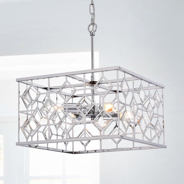 Warehouse of Tiffany Galiria Chrome-finished 4-light Square Cage Pendant with Clear Glass Shade