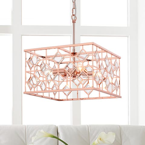Galiaka Rose Gold Metal/Glass 4-inch Square 4-light Cage Pendant