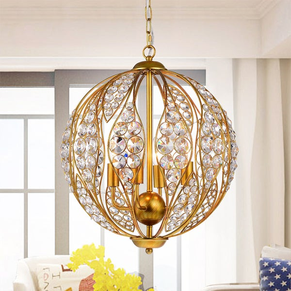Warehouse of Tiffany Dulne Antique Goldtone Metal 13-inch 3-light Crystal Globe Pendant