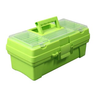 Multi-compartment Plastic Toolbox with Tray, Green