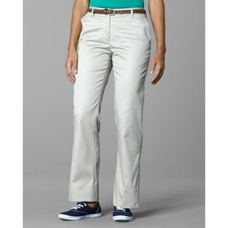 Twin Hill Womens Casual Pant Khaki Poly/Cotton Flat Front (Option: 18w)