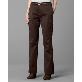 Twin Hill Womens Casual Pant Brown Poly/Cotton Flat Front