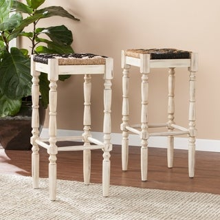 "Harper Blvd Sunterra Backless Square Seagrass 30"" Barstools 2pc Set - Distressed White"